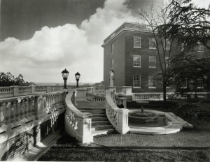 "The bridge between Randolph and Mason, no date H. Bagby, ""Bridge between Randolph and Mason Halls,"" H. Bagby Collection, Simpson Library Special Collections, University of Mary Washington"